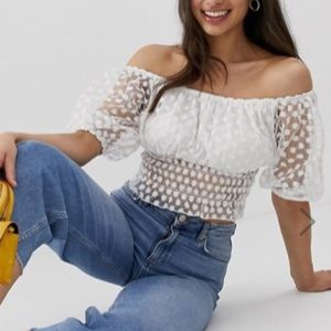 Embroidered Sheer Crop Top